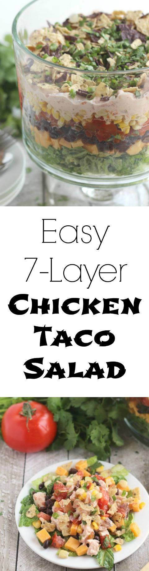 This showstopper 7-Layer Chicken Taco Salad will be the hit of the picnic! Our shortcuts and make-ahead tips make it quick and simple, too! ~ from Two Healthy Kitchens at www.TwoHealthyKitchens.com