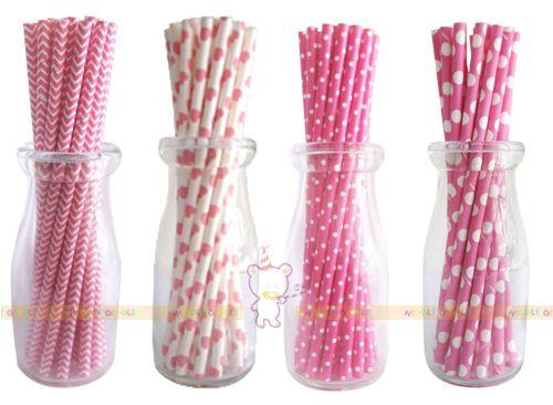 Pink Paper Straws. Visit us at www.wigglegiggle.com