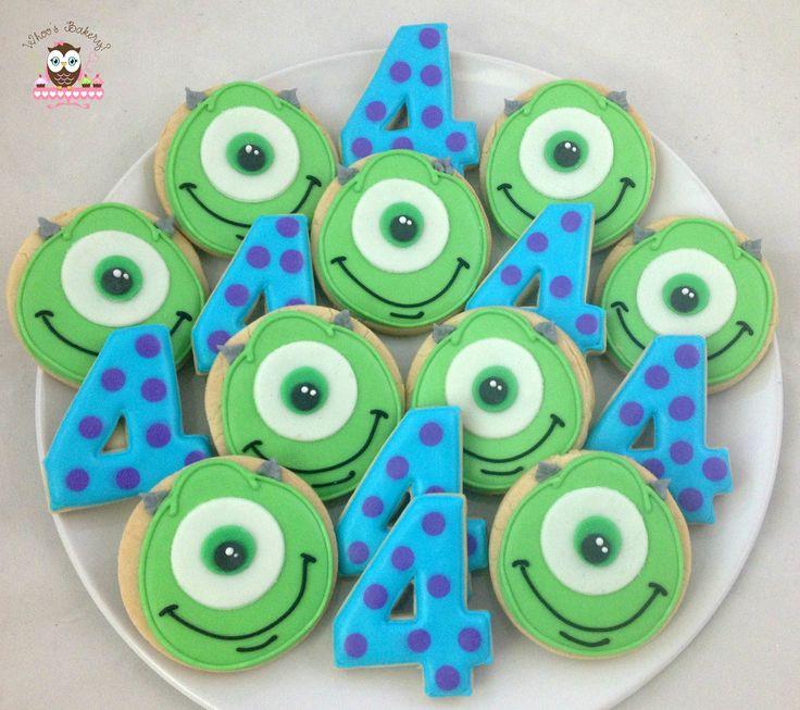 Monsters inc cookies, sulley cookies, mike cookies