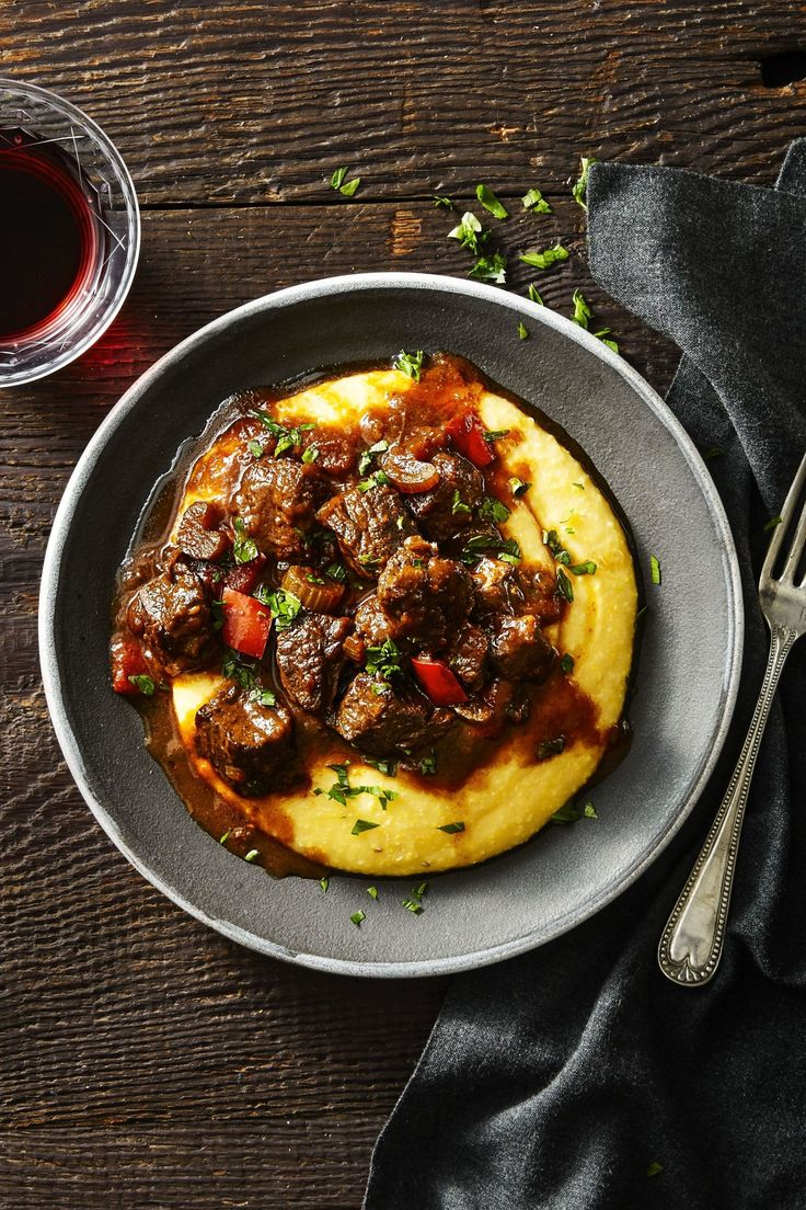 """N'awlins Cajun Beef and Grits - 3 1/2 lb. boneless beef chuck, trimmed and cut into 1"""" chunks"""