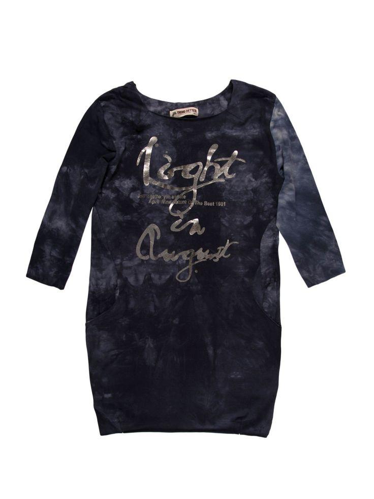 Bluzka damska tunika, z kieszeniami z printem - XBD0242 - odzież damska - txm24.pl granatowa