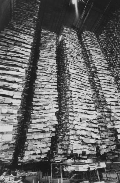 Drying pages and pages and pages damaged in the 1966 Florence floods.