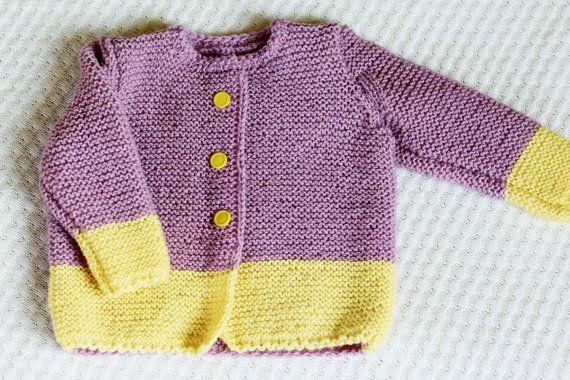 Knit Baby Girl Cardigan Wool Baby Girl Sweater Purple by LalaKa