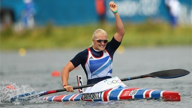 Rachel Cawthorn of Great Britain celebrates during the Women's Kayak Single (K1) 500m Sprint semi-finals on Day 11 of the London 2012 Olympic Games at Eton Dorney.