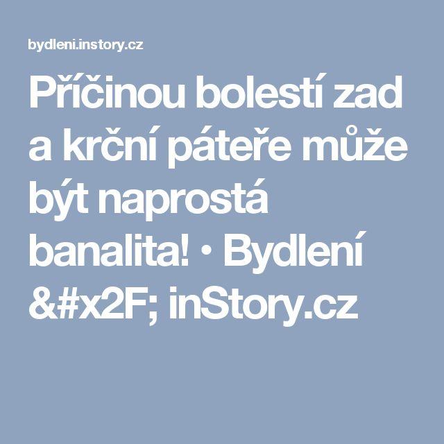 Příčinou bolestí zad a krční páteře může být naprostá banalita! • Bydlení / inStory.cz