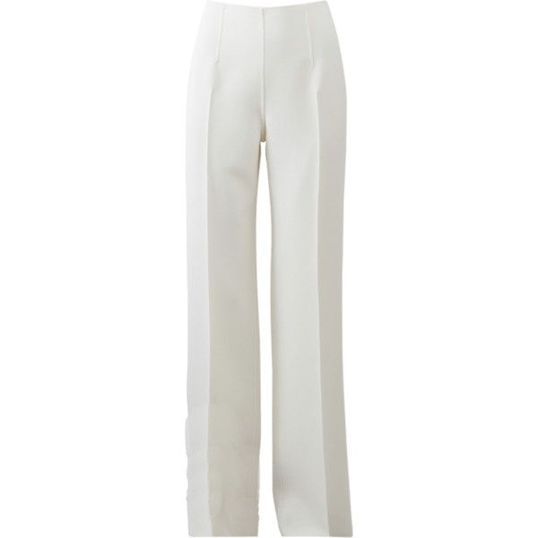 Michael Kors Straight Leg Pant ($1,295) ❤ liked on Polyvore featuring pants, side zip pants, straight leg trousers, loose pants, straight leg pants and wide leg trousers