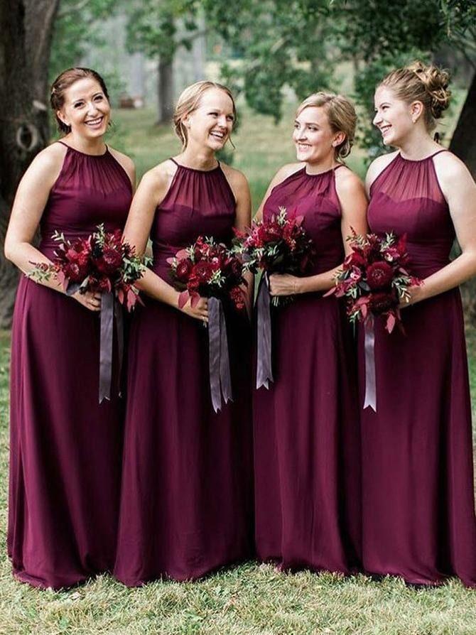 Plus Size Burgundy Long Bridesmaid Dresses With Halter Neck Ard1777 Burgundy Bridesmaid Dresses Long Maroon Bridesmaid Dresses Red Chiffon Bridesmaid Dresses
