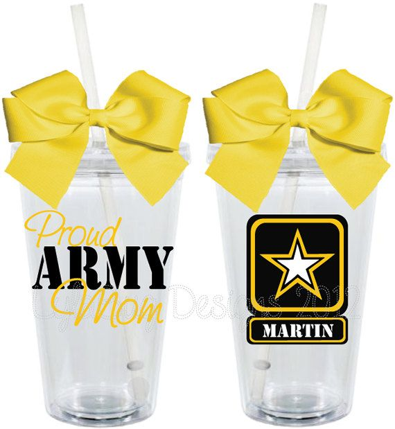 Proud Army Wife Girlfriend Mom 16oz Personalized Acrylic Tumbler. $15.00, via Etsy.  present for hen's mom?!
