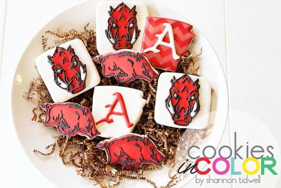 Arkansas Razorback Cookies   Cookies In Color   Shannon Tidwell