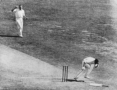 """This moment when Bert Oldfield was struck by a bouncer from Harold Larwood was the tipping point of the so-called """"Bodyline"""" series of 1932-33 when England toured Australia & ultimately won the Ashes. Amazing that this series is still so well discussed all these years later. This is an iconic image from that series. Afterwards Larwood said: """"I'm sorry Bertie"""" to a grounded & bruised Oldfield who responded: """"It's not your fault Harold!""""........for some reason I love this story!"""
