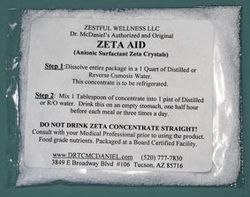 Medical grade electrolyte to maximize zeta potential (capacity) of blood.  Also seems to work safely for detox.