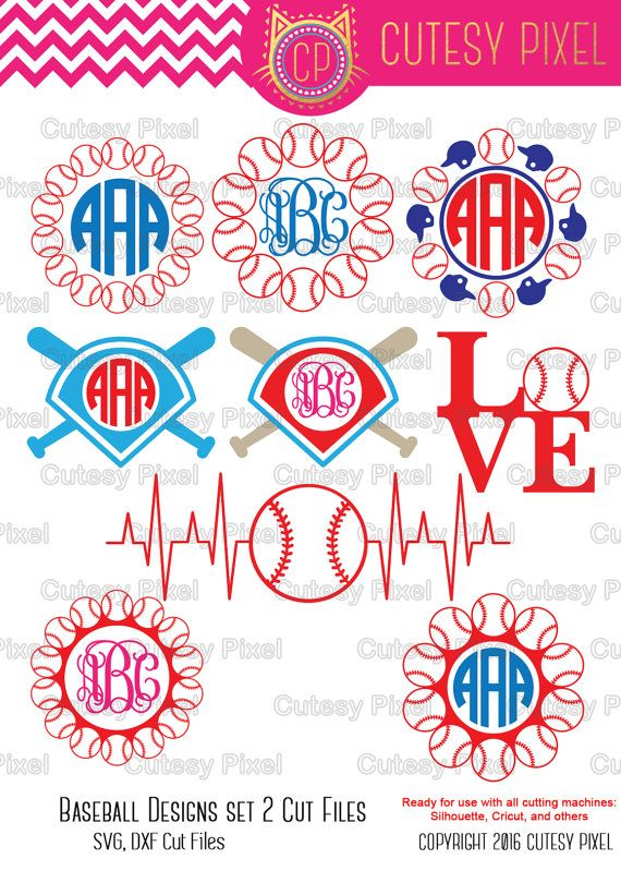 Baseball Monogram Frames Svg cutting file, baseball SVG, DXF, Cricut Design Space, Silhouette Studio,Digital Cut Files