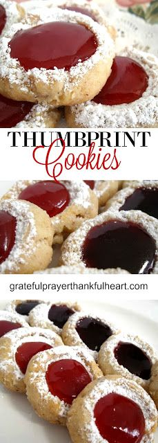 Tender and Nutty Raspberry or Strawberry Jam Thumbprint Cookies for holiday baking or anytime.