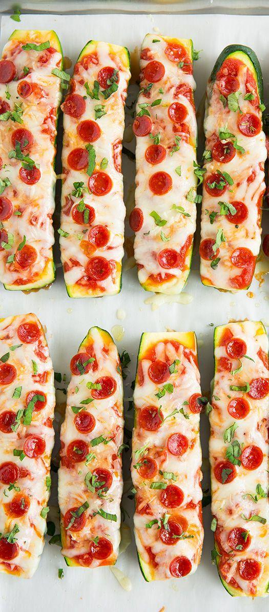 Zucchini Pizza Boats #healthy #pizza #snack