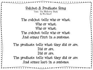 Freebie-I went to bed the other night and a song popped into my head about subjects and predicates