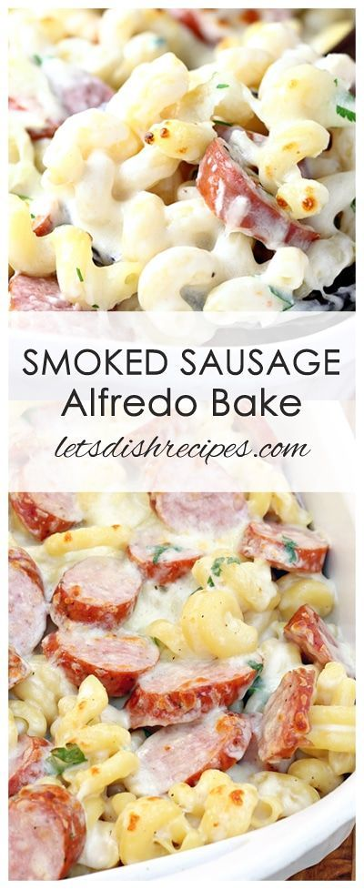 Spicy Smoked Sausage Alfredo Bake Recipe | Pasta and smoked sausage come together with a creamy, cheesy sauce in this quick and easy weeknight dinner.