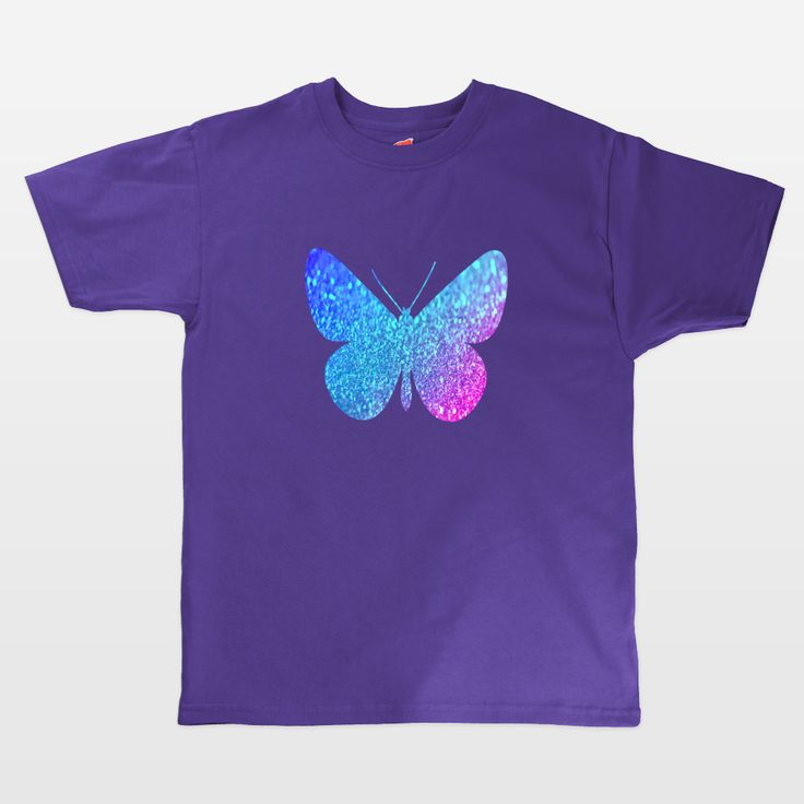 Shop for unique nursery art like the blue glitter butterfly Kids T-Shirts by haroulita on BoomBoomPrints today!  Customize colors, style and design to make the artwork in your baby's room their own!