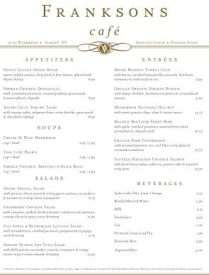 this plaza cafe menu shows off upscale style with an elegant