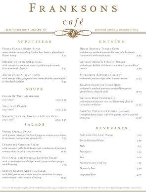 simple restaurant menus