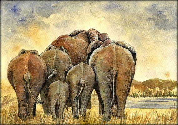 "Elephant herd safari africa african color animal wildlife 11x8"" 29x21 cm art original Watercolor painting by Juan bosco"