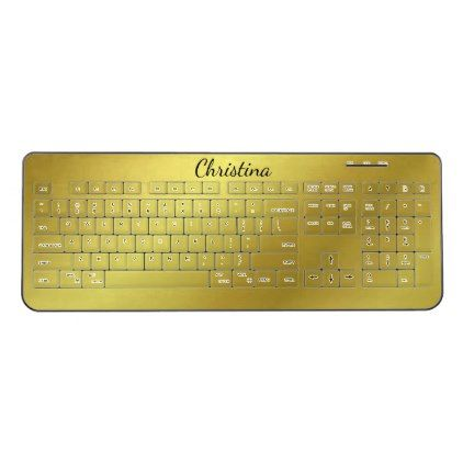 #Faux Gold Black Name Wireless Keyboard - #giftsforher #gift #gifts #her
