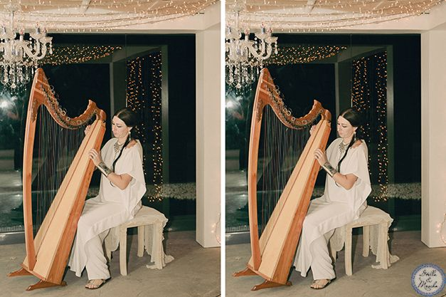 Harpist | Santorini Wedding by Stella and Moscha - Exclusive Greek Island Weddings | Photo by Anna Roussos | http://www.stellaandmoscha.com/wedding-photos/private-villa-wedding/