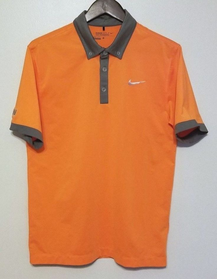 Nike Golf Men's Polo S Small Orange Tour Performance Dri Fit Sport #NikeGolf #ShirtsTops