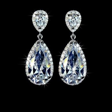 These Beautiful Sparkly Teardrop Earrings Are Perfect For Weddings And Other Special Occasions. Bullet Clasps Are Lead