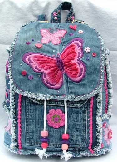 Girls butterfly denim patchwork backpack $$