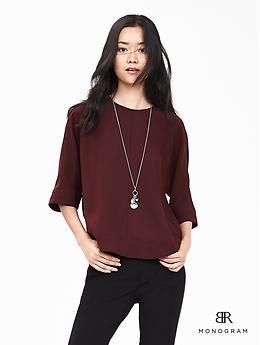 BR Monogram Cross-Back Drapey Top