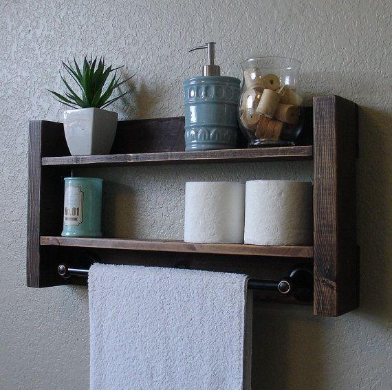 Best 25  Bathroom towel bars ideas on Pinterest Handcrafted 2 tier bathroom shelf with dark bronze towel bar  Perfect for  any home bathroom. Bathroom Shelf With Towel Bar. Home Design Ideas