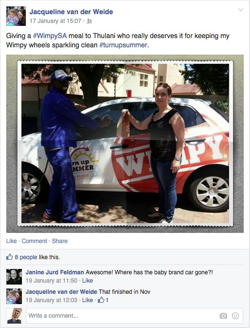 For keeping her Wimpy wheels sparkling clean, Jacqueline thought that Thulani really deserved a Wimpy meal #TurnUpSummer