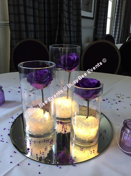 Cylinder Vase Centerpieces - ***TABLE CENTERPIECES*** Table Centerpieces, Table Decorations, Crystals, Confetti, Petals - Our Services - Busy Bee Events - Chair Covers, Table Centrepieces, Wedding Decorations, Venue Dressing, Wall Drapes, Wedding Invitations, Candy Buffet, Balloons, Mobile Discos, Basingstoke, Hampshire, Berkshire, Surrey