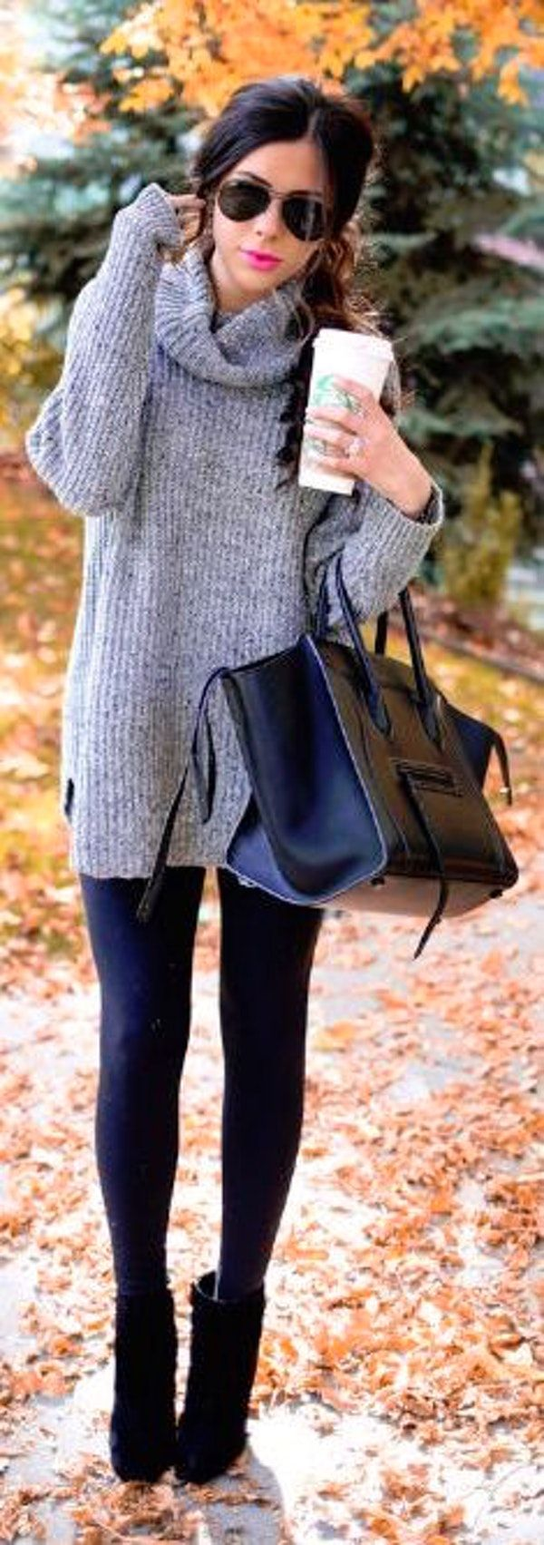 #thanksgiving #fashion ·  Grey Turtleneck Knit // Black Leather Bag // Black Leggings // Black Booties