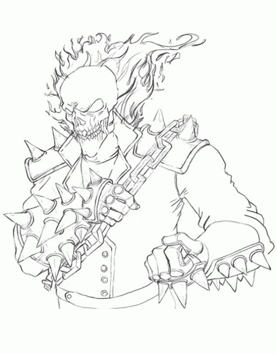 Ghost rider coloring sheet free printable superheroes - Coloriage ghost rider ...
