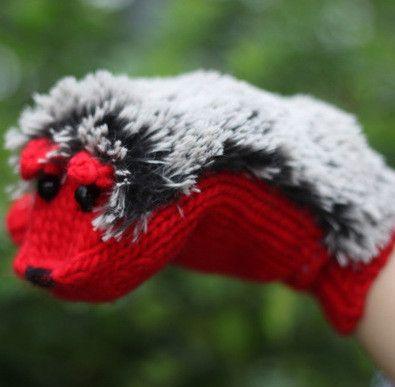 New Winter Warm Cartoon hedgehog gloves women cute knit outdoor Female cotton white Mittens,guantes mujer,luvas feminina,luva