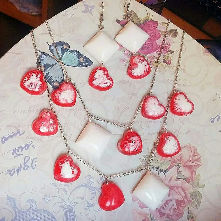 #heart shaped jewelry #strawberries and #yoghurt #rayolabijoux #mypassion #handmade #handmadejewelry #jewelry