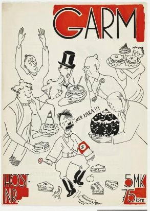 Tove Jansson – More Cake! (cover of Garm magazine 1940s) at Ateneum, Helsinki