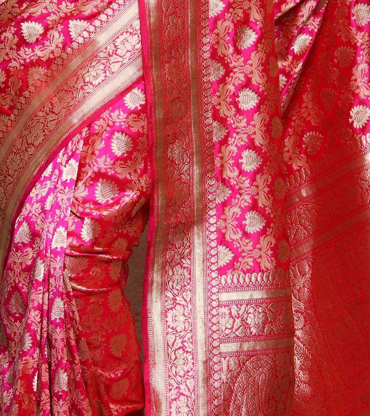 Magenta Zari Woven Silk Saree...... #covaiweddingshoppers