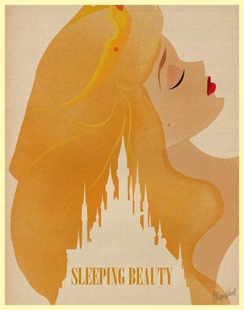 Bella durmiente | 28 Posters minimalistas de Disney para el cuarto del bebé