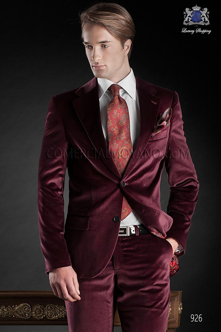 Italian red velvet wedding tuxedo | Italian men wedding ...
