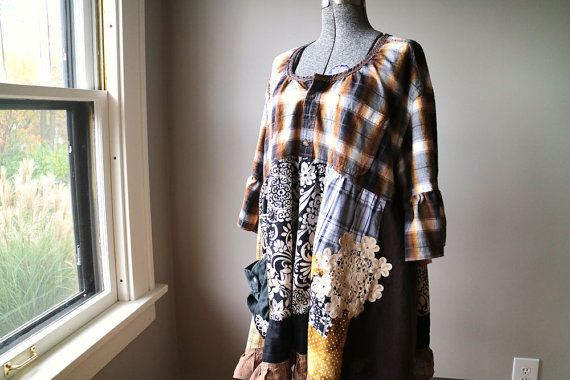 2X 3X Plus Size Tunic Shabby Cottage Chic Tunic by BentEdgeAlchemy