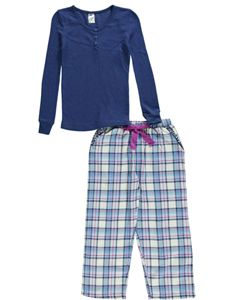 """M Girl Big Girls' """"Rainbow Speckles"""" 2-Piece Pajamas (Sizes 7 – 16) $9.99  Cozy, comfy, and colorful: these M Girl pajamas have it all! The textured Henley shirt has multicolored threading. Plaid flannel pants come with a tie at the elastic waistband."""