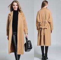 2016 Женщин зимой шерстяные пальто талии пояса длинный плащ ветровка женская повседневная бушлат плюс размер пальто outfitXXXXL6286