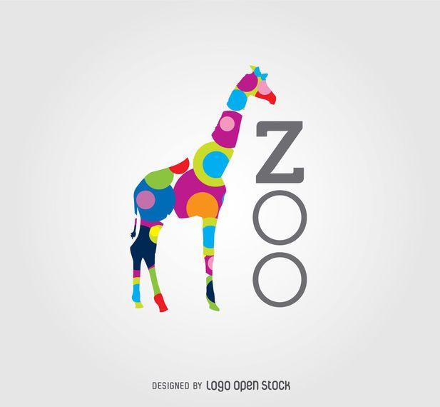 """Esta insignia muestra una jirafa pintada de círculos coloreados con la palabra del """"parque zoológico"""" escrita al lado verticalmente. Es perfecto par"""