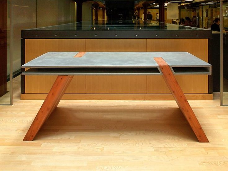 """Weight of Space"" concrete and timber table/desk by Leigh Cameron... gorgeous, architectural and clean!"