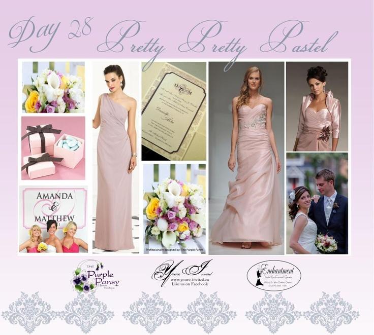 Day 28 Pretty Pretty Pastel   Wedding. The Purple Pansy www.purplepansy.ca You're Invited www.youre-invited.ca Enchantment Bridal www.enchantmentbr... Picture of You're Invited Invitations Enchantment Bridal Dresses & The Purple Pansy Floral Arrangements