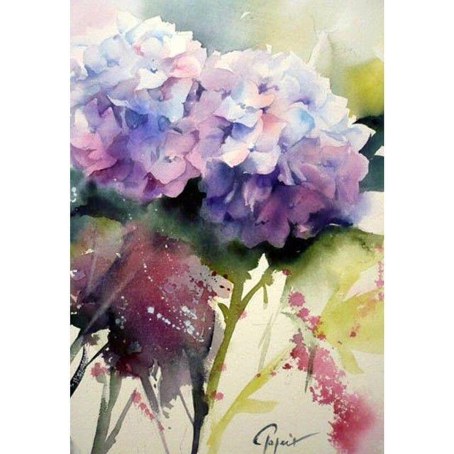 Watercolor by Jean Claude Papeix . #watercolor #art #painting #flowers #цветы #акварель #живопись #искусство