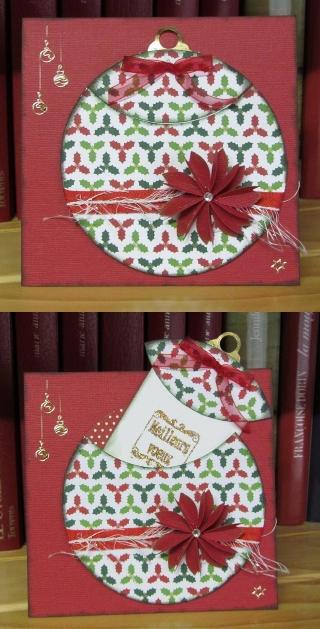 Carte avec une boule de Noel s'ouvrant sur un tag.