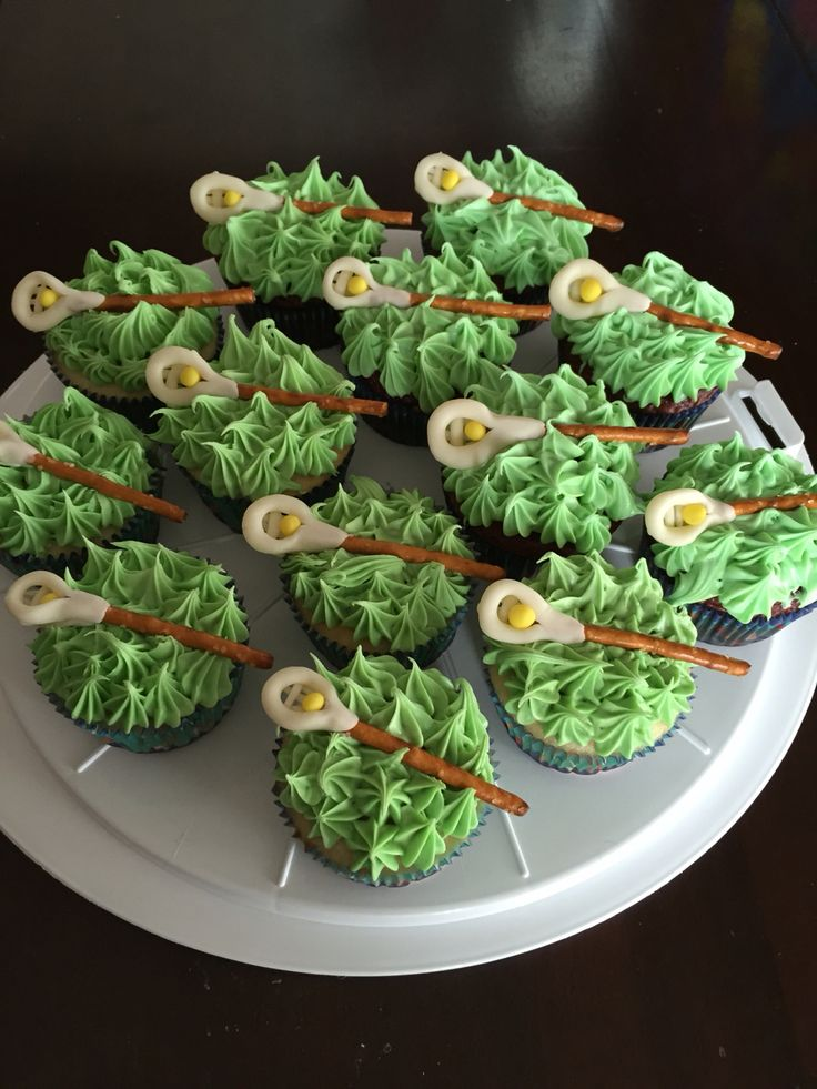 Lacrosse Stick Cupcakes!  I used Wilton's Shape n'Amaze for the head of the stick and a pretzel stick for the shaft.